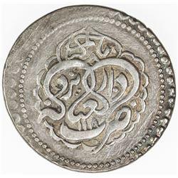 ZAND: Karim Khan, 1753-1779, AR abbasi (4.51g), Yazd, AH1180. EF
