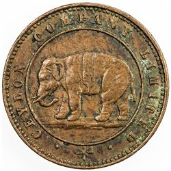 CEYLON: AE token (3.57g), ND (ca. 1866). VF-EF