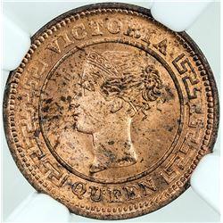CEYLON: Victoria, 1837-1901, AE ¼ cent, 1901, KM-90, NGC graded MS64 RD.