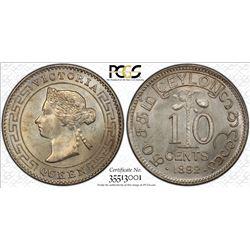 CEYLON: Victoria, 1837-1901, AR 10 cents, 1892. PCGS MS64