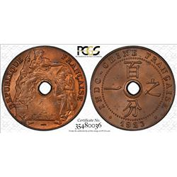 FRENCH INDOCHINA: 1 centime, 1923. PCGS MS64
