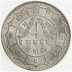 NEPAL: Tribhuvana Bir Bikram, 1911-1950, AR rupee, VS1989 (1932). UNC