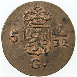 NETHERLANDS EAST INDIES: Batavian Republic AE 1/2 duit, 1806. UNC