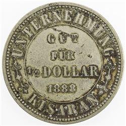 NETHERLANDS EAST INDIES: 1/2 dollar token (11.19g), 1888. VF