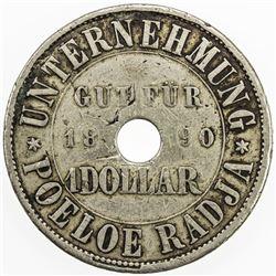 NETHERLANDS EAST INDIES: 1/2 dollar token (10.71g), 1890. VF