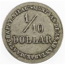 NETHERLANDS EAST INDIES: 1/10 dollar token (2.47g), ND [ca. 1905]. VF