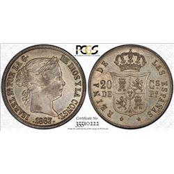 PHILIPPINES: Isabel II, 1833-1868, AR 20 centimos, 1867. PCGS AU55