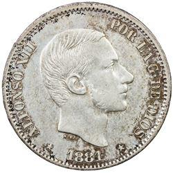 PHILIPPINES: Alfonso XII, 1874-1885, AR 50 centavos, 1881. VF-EF