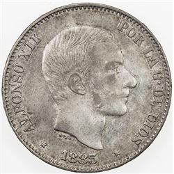 PHILIPPINES: Alfonso XII, 1874-1885, AR 50 centavos, 1883. EF