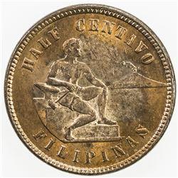 PHILIPPINES: AE 1/2 centavo, 1903. UNC