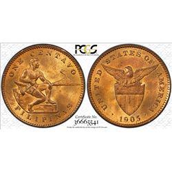 PHILIPPINES: AE centavo, 1905. PCGS MS64