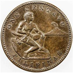 PHILIPPINES: AE centavo, 1914-S. UNC