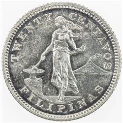 PHILIPPINES: AR 20 centavos, 1903. PF
