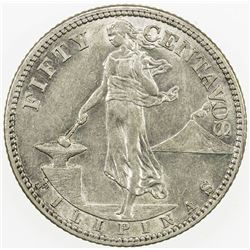 PHILIPPINES: AR 50 centavos, 1919-S. EF-AU