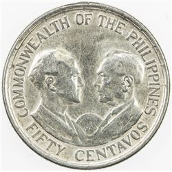 PHILIPPINES: AR 50 centavos, 1936-M. EF