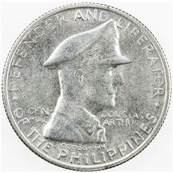 PHILIPPINES: AR peso, 1947-S, KM-185, Douglas MacArthur, a few hairlines, UNC
