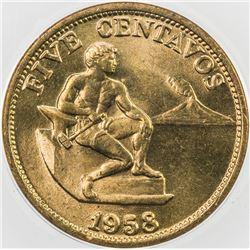 PHILIPPINES: Republic, 5 centavos, 1958, SAMPLE, PCG Meeting at Denver ANA