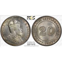 STRAITS SETTLEMENTS: Edward VII, 1901-1910, AR 20 cents, 1910-B. PCGS MS64