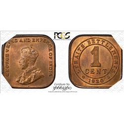 STRAITS SETTLEMENTS: George V, 1910-1936, AE cent, 1920. PCGS MS64