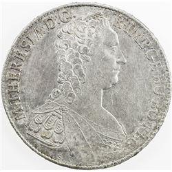 BURGAU: Maria Theresa, 1740-1780, AR thaler, 1765. EF