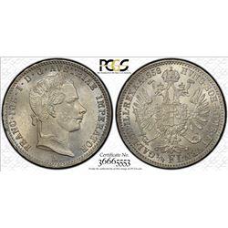 AUSTRIA: Franz Joseph I, 1848-1916, AR 1/4 florin, 1858-A. PCGS MS65
