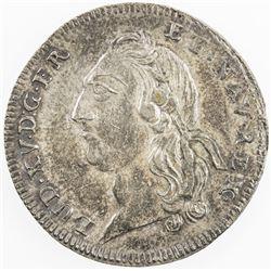 FRANCE: Louis XV, 1715-1774, AR jeton (7.23g), 1723. EF