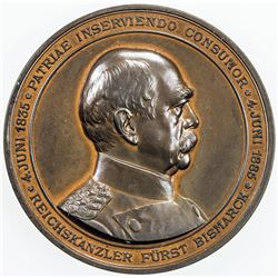 GERMAN STATES: AE medal, 1885, 70th Birthday and 50th Year of Duty of Otto von Bismarck, AU