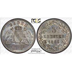 BADEN: Friedrich I, 1852-1907, AR 3 kreuzer, 1866. PCGS MS65