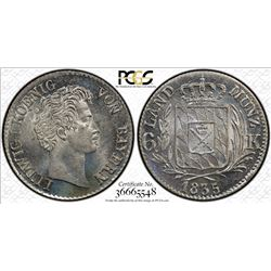 BAVARIA: Ludwig I, 1825-1848, AR 6 kreuzer, 1835. PCGS MS65