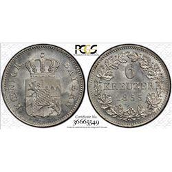 BAVARIA: Maximilian II, 1848-1864, AR 6 kreuzer, 1855. PCGS MS66