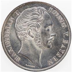 BAVARIA: Maximilian II, 1848-1864, AR 2 gulden, 1851. UNC