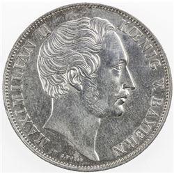 BAVARIA: Maximilian II, 1848-1864, AR 2 gulden, Munich, 1855. AU