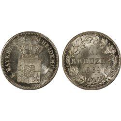 BAVARIA: Ludwig II, 1864-1886, AR kreuzer, 1869. PCGS MS65