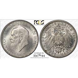 BAVARIA: Ludwig III, 1913-1918, AR 3 mark, 1914-D. PCGS MS64