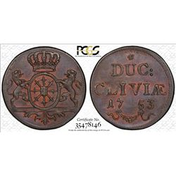 CLEVES: Frederick II, of Prussia, 1740-1786, AE duit, 1753, KM-53, PCGS graded MS64 BR.