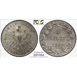 FRANKFURT: Free City, AR kreuzer, 1855. PCGS MS65
