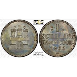 HAMBURG: Free and Hanseatic City, AR schilling, 1855. PCGS MS66