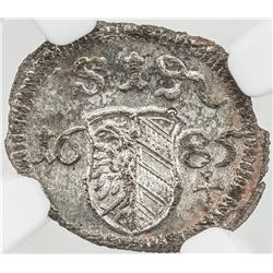 NUREMBERG: Reichsstadt, AR pfennig, 1685. NGC MS64