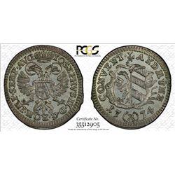 NUREMBERG: Imperial City, AR 2 1/2 kreuzer, 1774. PCGS MS65