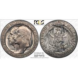PRUSSIA: Wilhelm II, 1888-1918, AR 3 mark, 1910-A. PCGS MS65
