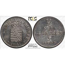 SAXONY: Frederick Augustus II, 1836-1854, AR 1/2 groschen, 1841-G. PCGS MS65