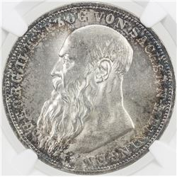 SAXE-MEININGEN: AR 3 mark, 1913-D, Y-162, a lovely example! NGC graded MS64.