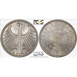 GERMANY: Federal Republic, AR 5 mark, 1963-J, KM-112.1, PCGS graded MS64.