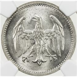 GERMANY: Weimar Republic, AR mark, 1924-A, KM-58, NGC graded MS64.