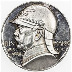 GERMANY: AR medal (17.80g), 1915, 110th Birthday of Bismarck by D. Hoppe for Lauer, Proof