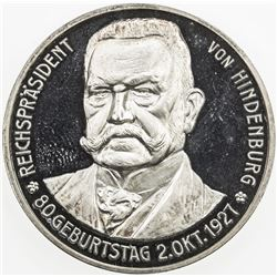 GERMANY: AR medal, 1927, 33mm silver medal, 80th Birthday of Paul von Hindenburg by Lauer, Proof