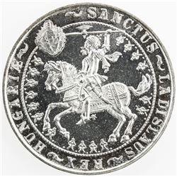 HUNGARY: silver 5 pengo, 1929-BP, initials UP, restrike, St. Ladislav