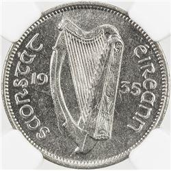 IRELAND: Irish Free State, 6 pence, 1935, KM-5, key date to series, NGC graded MS63.