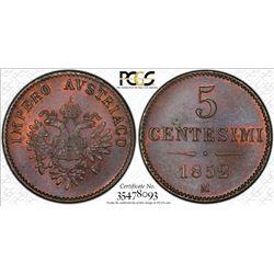 ITALIAN STATES: LOMBARDY-VENETIA: Franz Joseph I, of Austria, 1848-1866, AE 5 centesimi, 1852-M. PCG