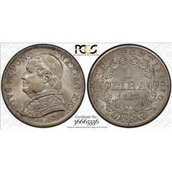 ITALIAN STATES: PAPAL STATES: Pius IX, 1846-1878, AR lira, 1867-R, year 22. PCGS MS64